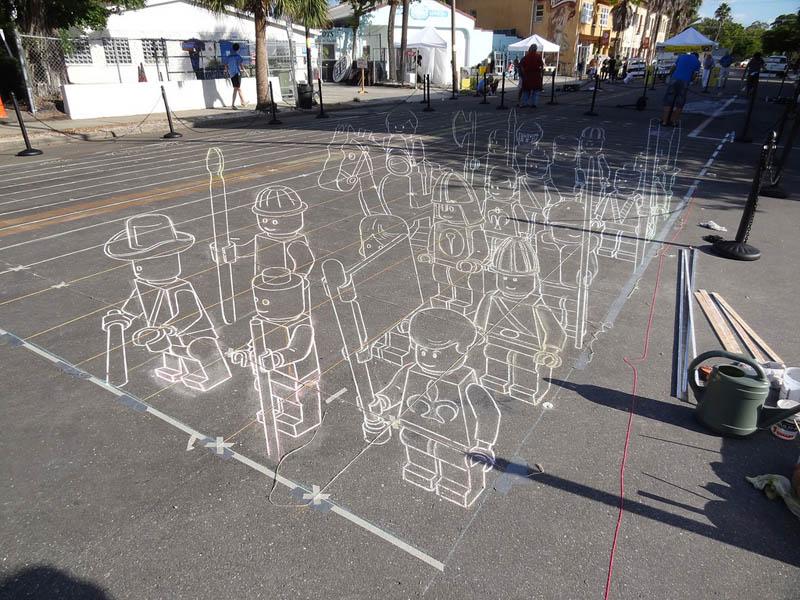 3D Sidewalk Art: Lego TerracottaWarriors