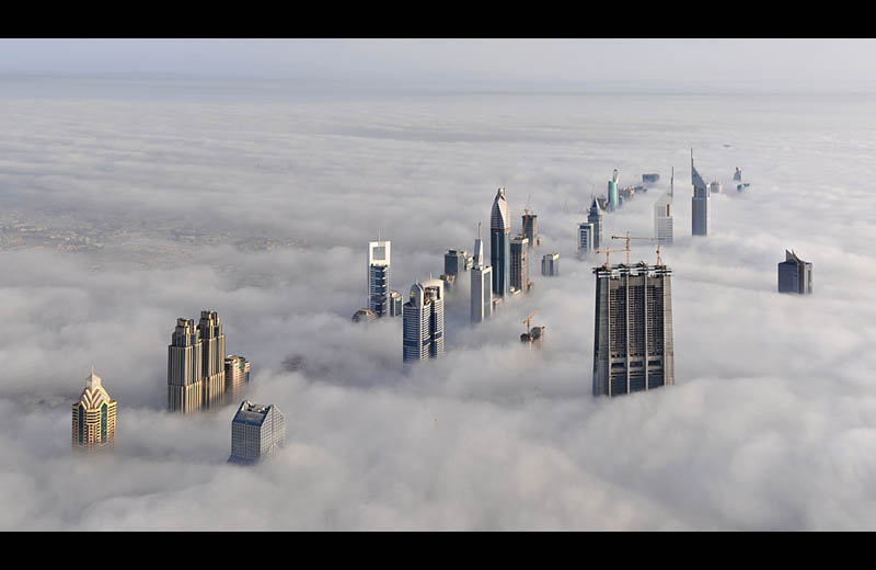 dubai cloud city sheikh zayed road from burj dubai Picture of the Day: Cloud City Dubai