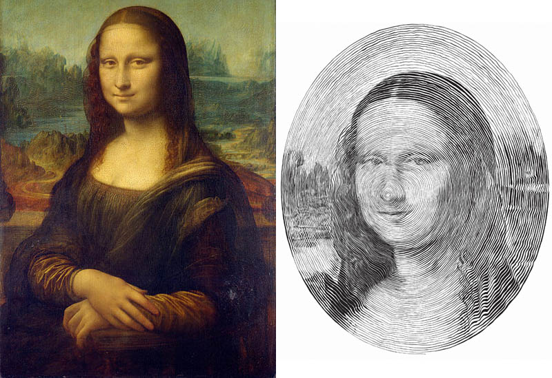 mona lisa made from single outward spiral pen stroke 3 Incredible Portraits Made From A Single Pen Stroke