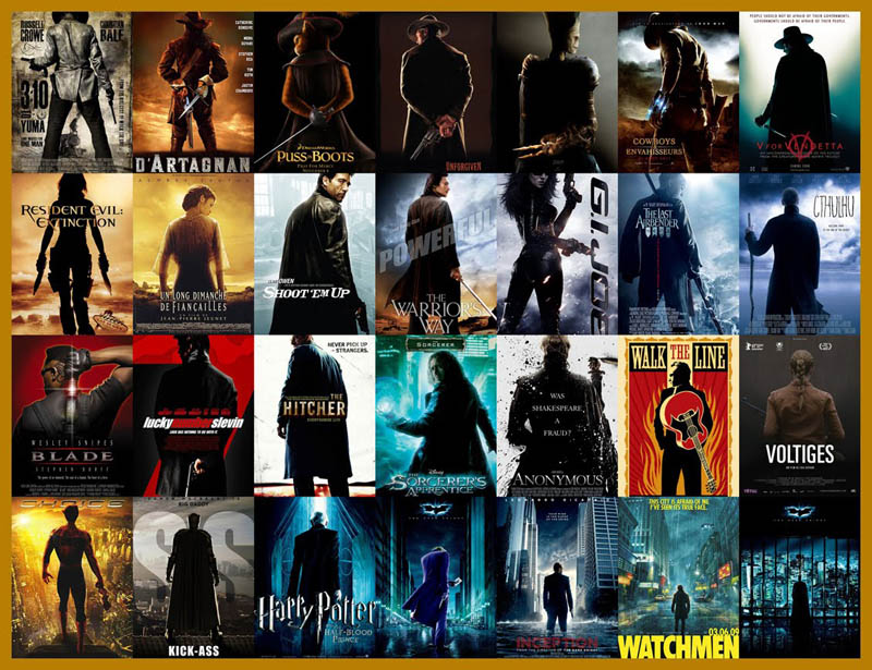movie poster cliches themes styles back to back viewed from side 3 10 Funny Movie Poster Cliches