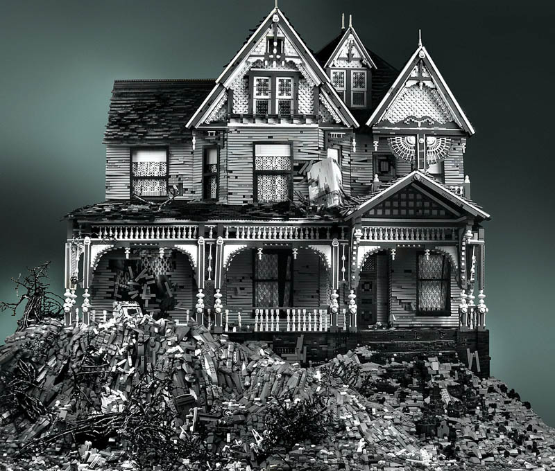 spooky haunted creepy abandoned victorian houses made of legos mike doyle 7 Builders Recreate the Bat Cave Using 20,000 Pieces of LEGO