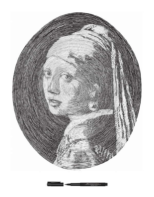 vermeer girl with pearl earring made from one line 3 Incredible Portraits Made From A Single Pen Stroke