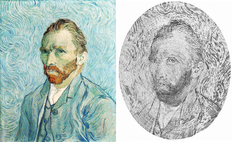 vincent van gogh self portrait made from one single pen strole 1 Incredible Portraits Made From A Single Pen Stroke