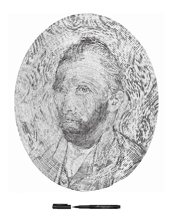 vincent van gogh self portrait made from one single pen strole 2 Incredible Portraits Made From A Single Pen Stroke