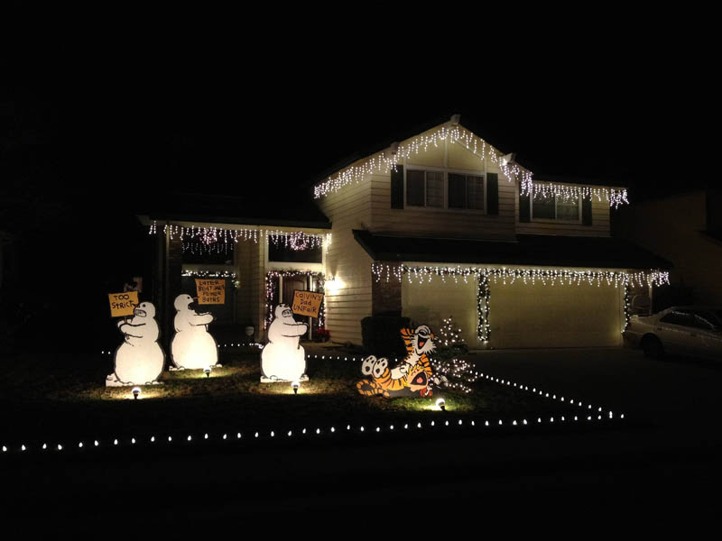 calvin and hobbes christmas decoration front yard setup picture of the day best calvin