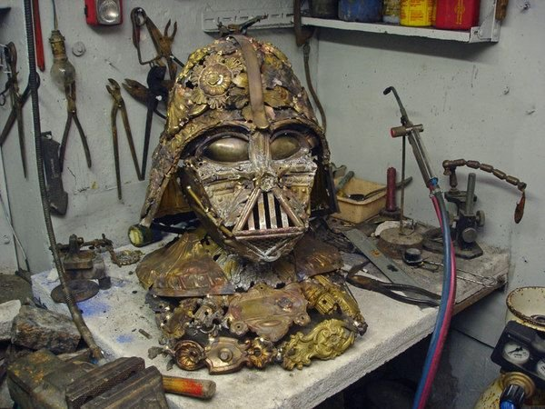 darth vader made from scrap junk bellino alain 1 Darth Vader Mask Made from Scrap Metal