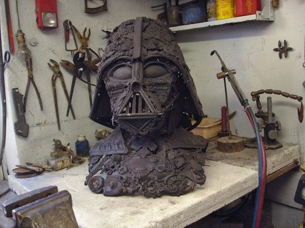 darth vader made from scrap junk bellino alain 2 Darth Vader Mask Made from Scrap Metal