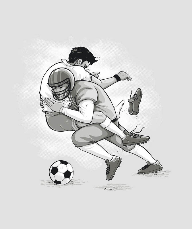 football tackling soccer 25 Fun Illustrations by Nacho Diaz