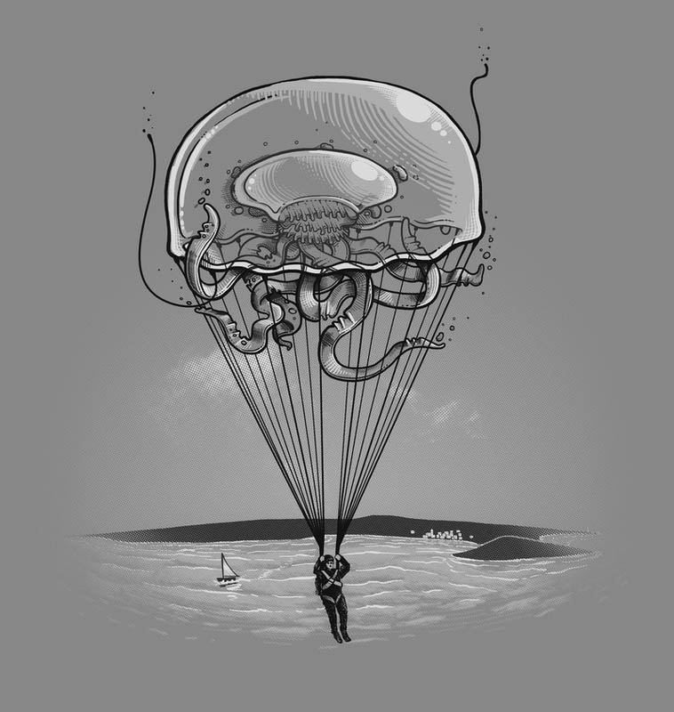 jellyfish baloon 25 Fun Illustrations by Nacho Diaz