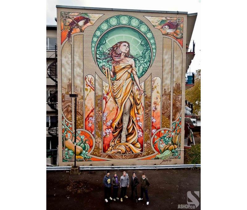 lady of grace mural montreal ashop fluke 12 Amazing Lady of Grace Mural in Montreal, Canada