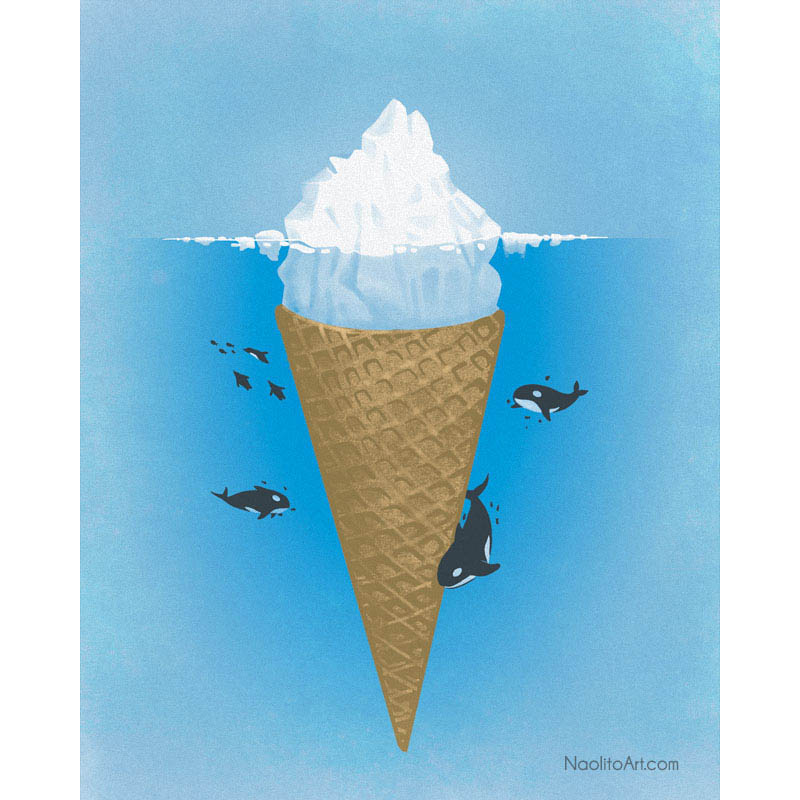 nacho diaz illustration iceberg ice cream cone 25 Fun Illustrations by Nacho Diaz
