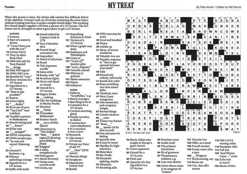 photograph regarding New York Times Sunday Crossword Printable known as This Working day Inside of Heritage December 21st Â«TwistedSifter