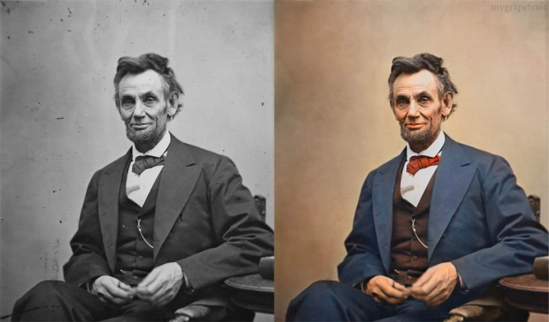 abraham lincoln portrait colorized Adding Color to Historic Photos [20 pics]