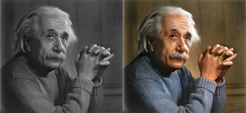 albert einstein portrait colorized 15 Famous Photos in History Colorized