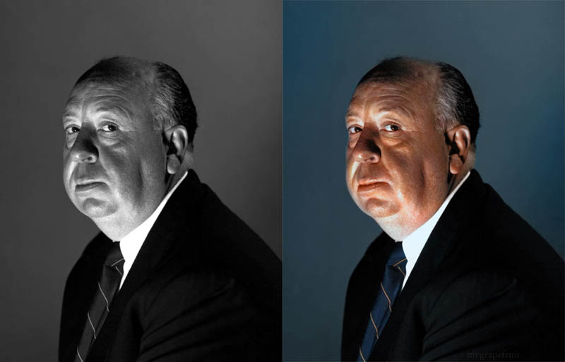 alfred hitchcock portrait colorized 15 Photo Manipulations Before the Digital Age