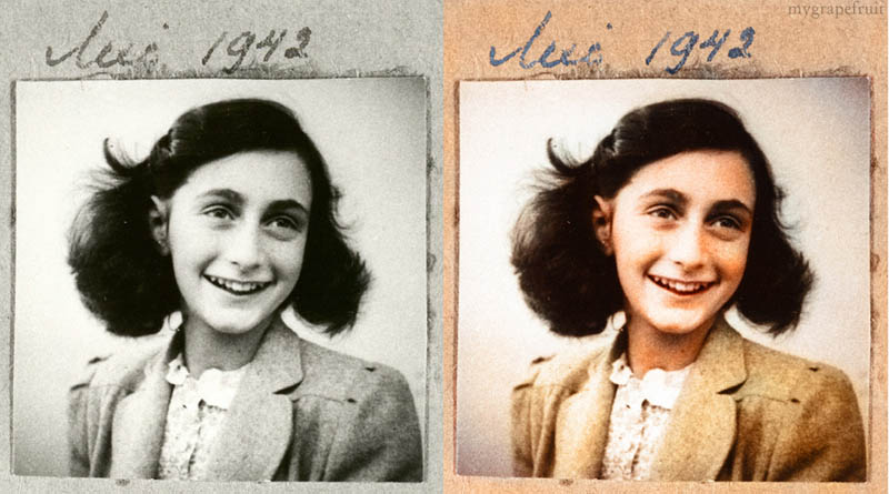 anne frank portrait colorized 15 Famous Photos in History Colorized