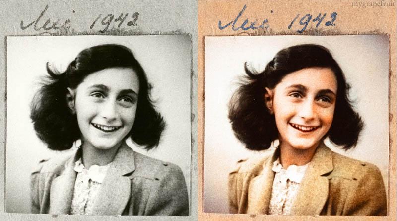 anne frank portrait colorized 15 Famous Photos in History Colorized