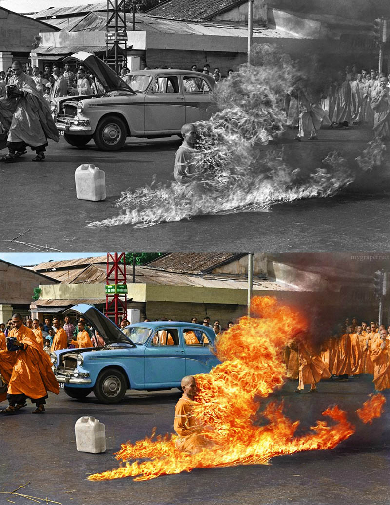 burning monk immolation colorized ratm album cover 15 Famous Photos in History Colorized