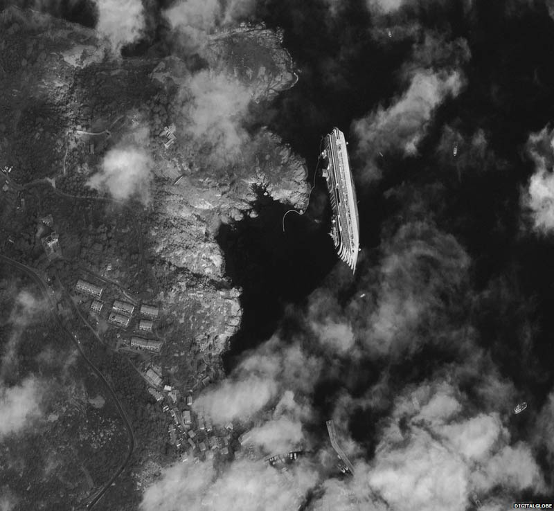 capsized cruise ship costa concordia from space The Top 100 Pictures of the Day for 2012