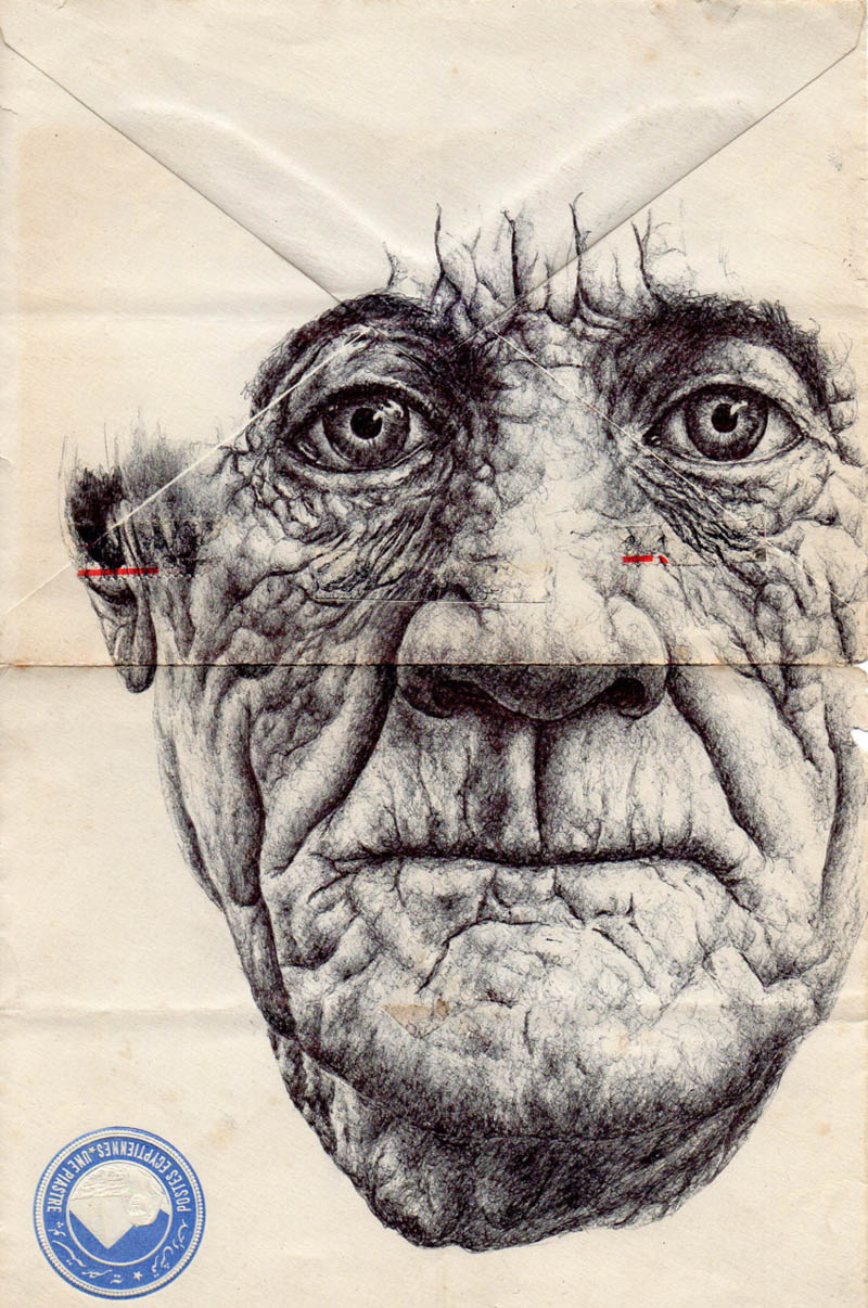 envelope art mark powell biro pen drawings 6 Amazing Envelope Art with a Ballpoint Pen