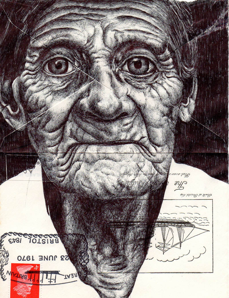 envelope art mark powell biro pen drawings 8 Amazing Envelope Art with a Ballpoint Pen