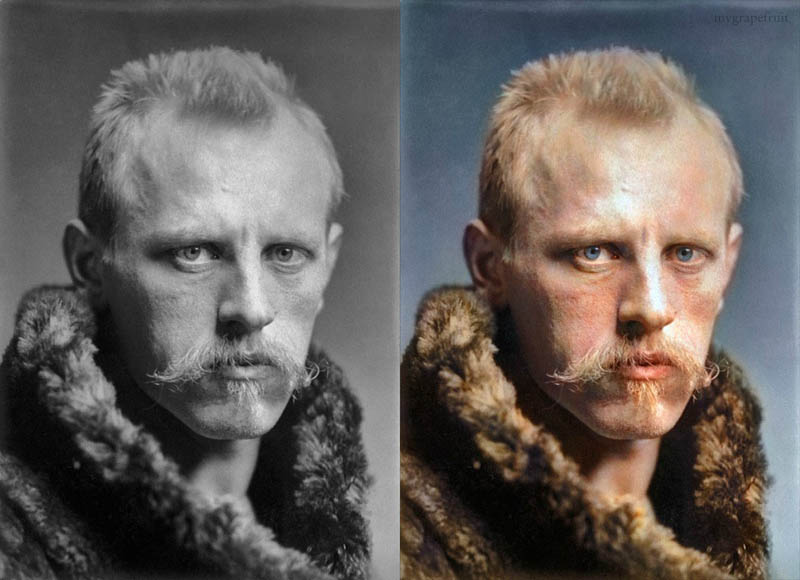 fidtjof nansen portrait colorzied 15 Famous Photos in History Colorized