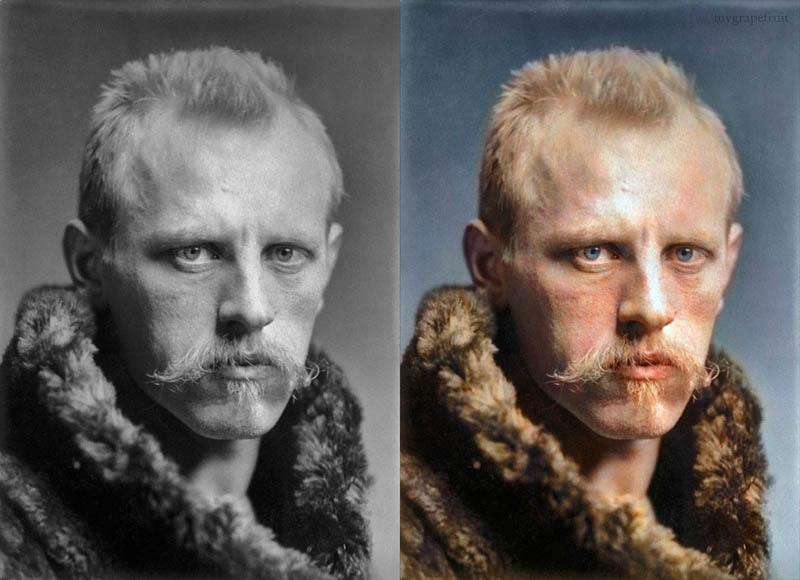 fidtjof nansen portrait colorzied 15 Famous Photos in History Colorized