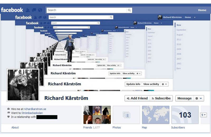 Droste effect facebook timeline cover artwork by richard karstrom