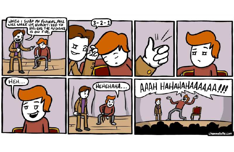 hypnotized crowd on fire comic Hypnosis [Comic Strip]