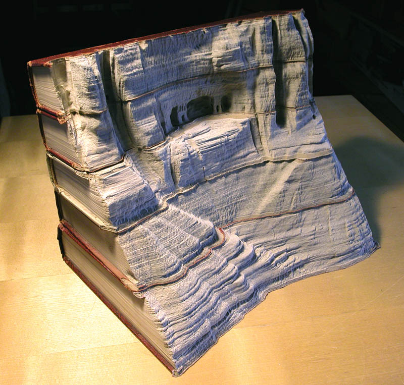 landscapes carved into books guy laramee 1 Incredible Landscapes Carved Into Books
