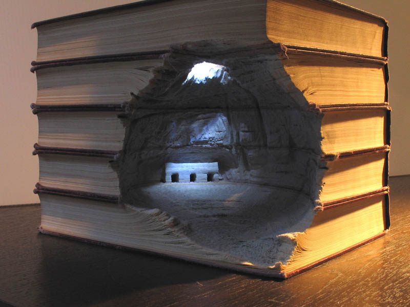 landscapes carved into books guy laramee 3 Incredible Landscapes Carved Into Books