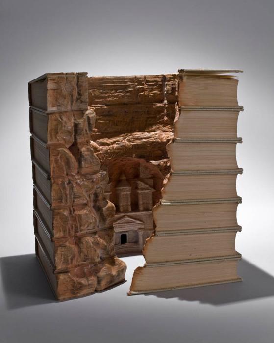 landscapes carved into books guy laramee 4 Artist Designs Books That Fan Out Into 360 Degree Stories