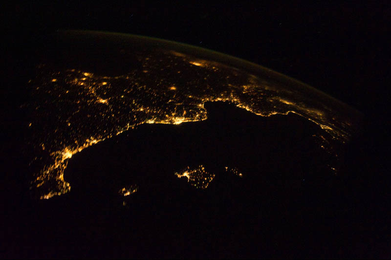 mediterranean riviera at night from space nasa Earth at Night: 30 Photos from Space