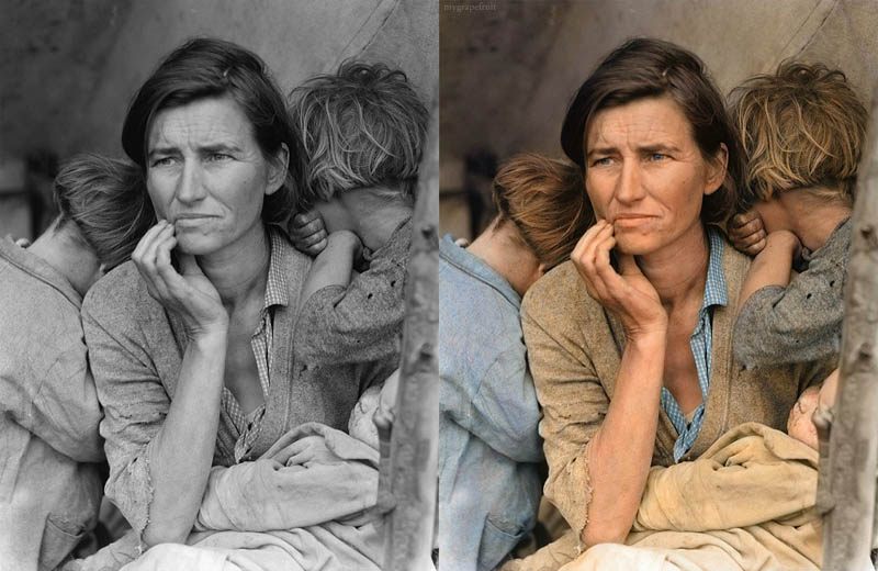 migrant mother dorothea lange colorized 15 Famous Photos in History Colorized