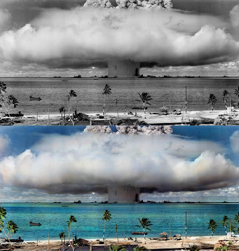 nuclear bomb detonation colorized 15 Famous Photos in History Colorized