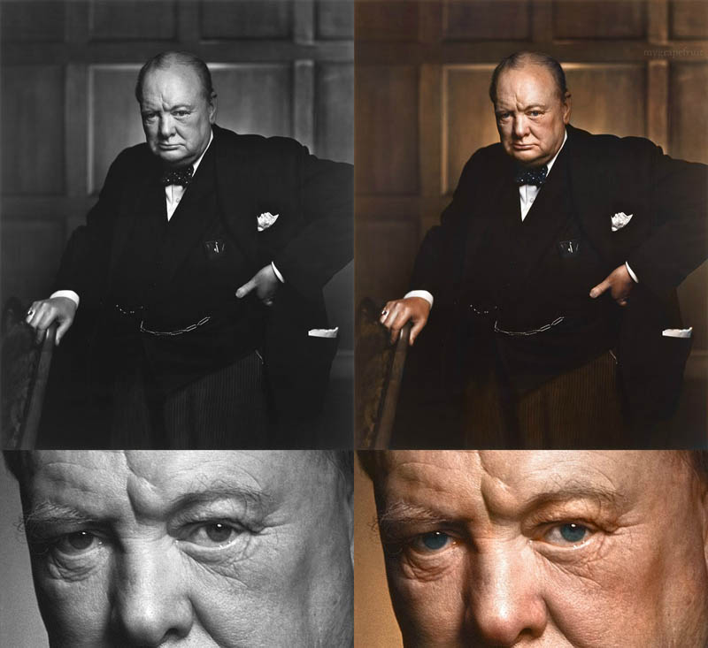 winston churchill portrait colorized Blending Scenes from WWII into Present Day