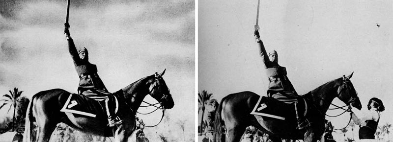 benito mussolini removes horse handler 1942 12 Historic Photographs That Were Manipulated