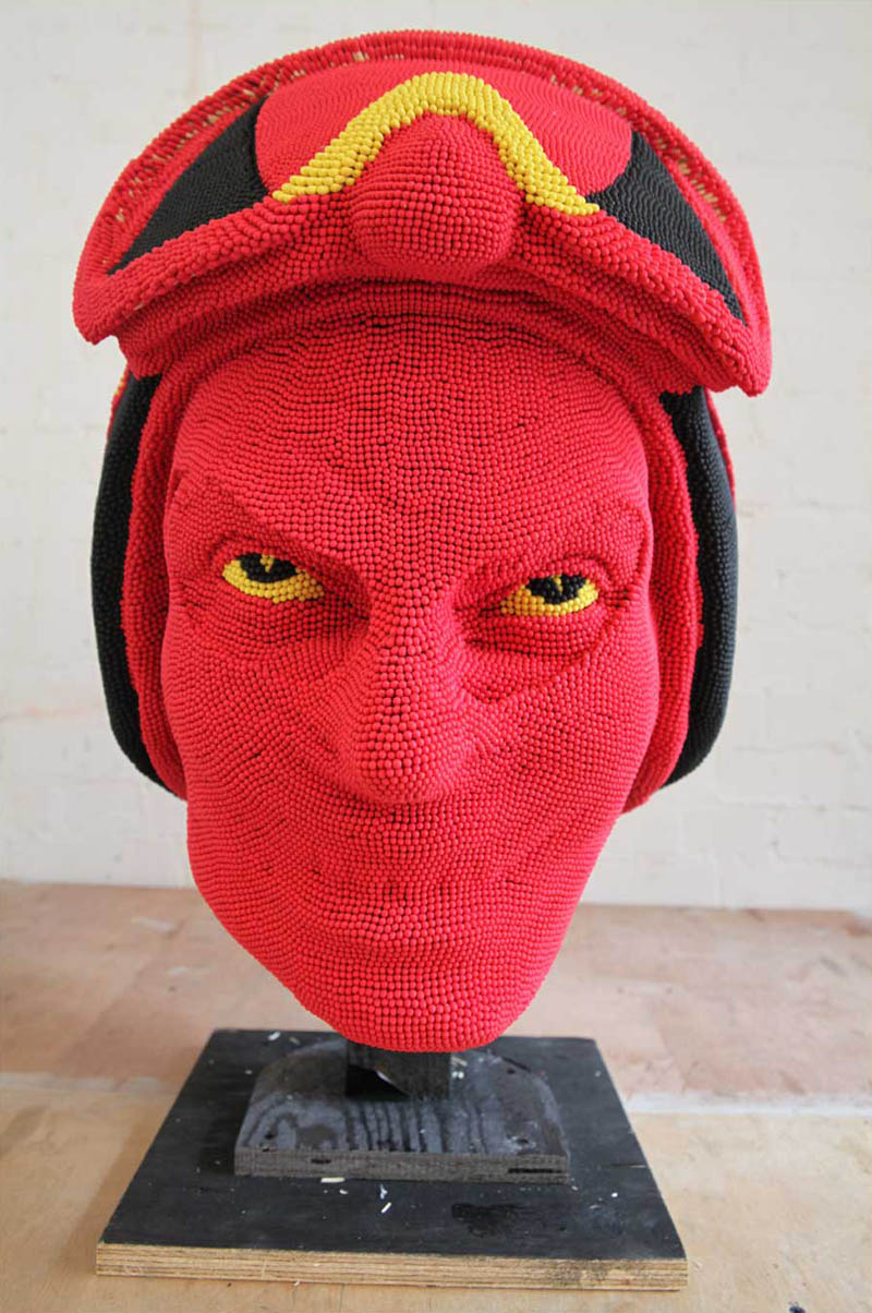 devil head sculpture made of matches set ablaze david mach 4 A Devil Sculpture Made from Matches Gets Set Ablaze