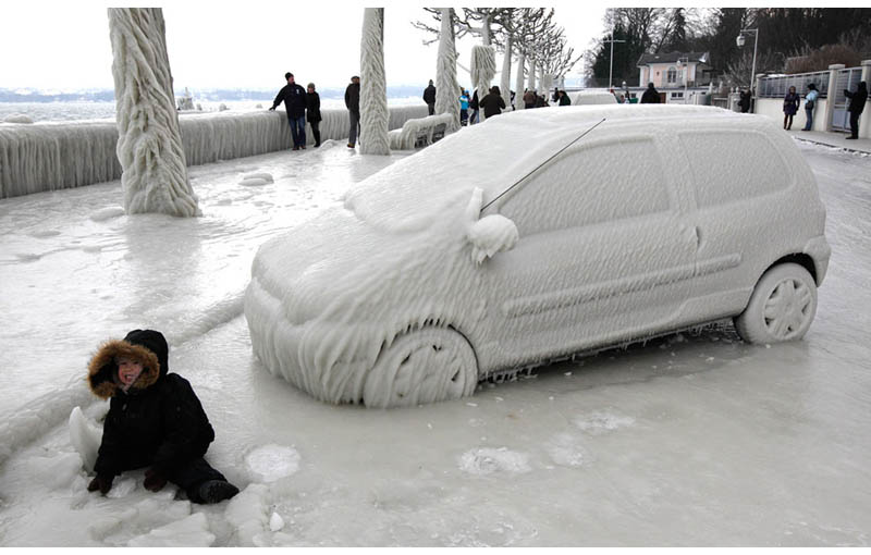 frozen ice car geneva switzerland The Top 75 Pictures of the Day for 2012