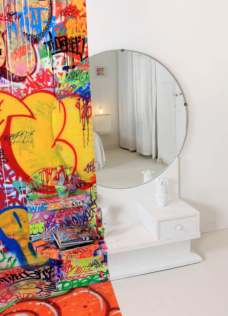 half white half graffiti hotel room by tilt in france 4 The Half White, Half Graf Hotel Room in France