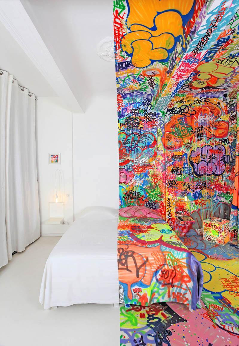 half white half graffiti hotel room by tilt in france 5 The Half White, Half Graf Hotel Room in France
