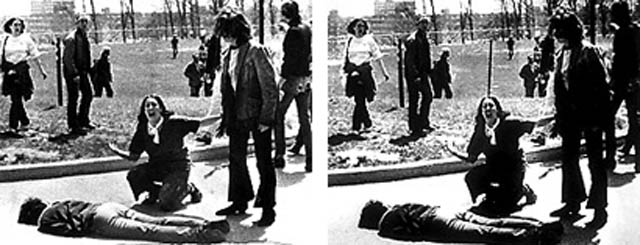 kent state massacre fencepost removal photoshop doctored 12 Historic Photographs That Were Manipulated