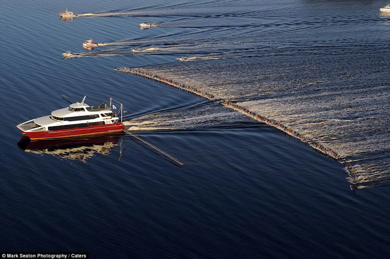 most waterskiers ever pulled behind a single boat The Top 75 Pictures of the Day for 2012