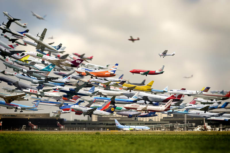 multiple exposure airplane take off hannover airport ho yeol ryu The Top 100 Pictures of the Day for 2012