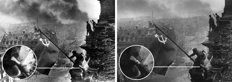 raising russian flag wwii watch removed photoshop doctored 12 Historic Photographs That Were Manipulated