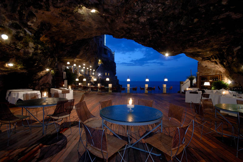restaurant inside a cave cavern itlay grotta palazzese 2 A Restaurant Beside a Waterfall