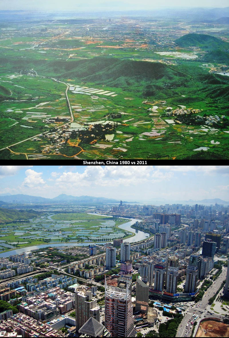 shenzhen china then and now 30 years later 1980 vs 2011 Picture of the Day: Shenzhen, China, 30 Years Later