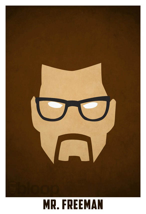 superheroes and villains minimal art posters by bloop 27 Minimalist Superheroes and Villains Posters