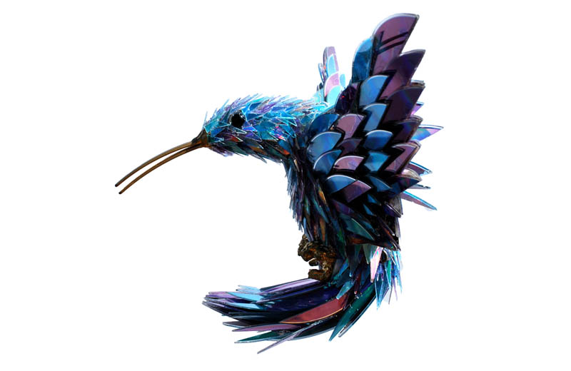 animal sculptures made from shattered cds sean avery 3 Animal Sculptures Made from Old Tires