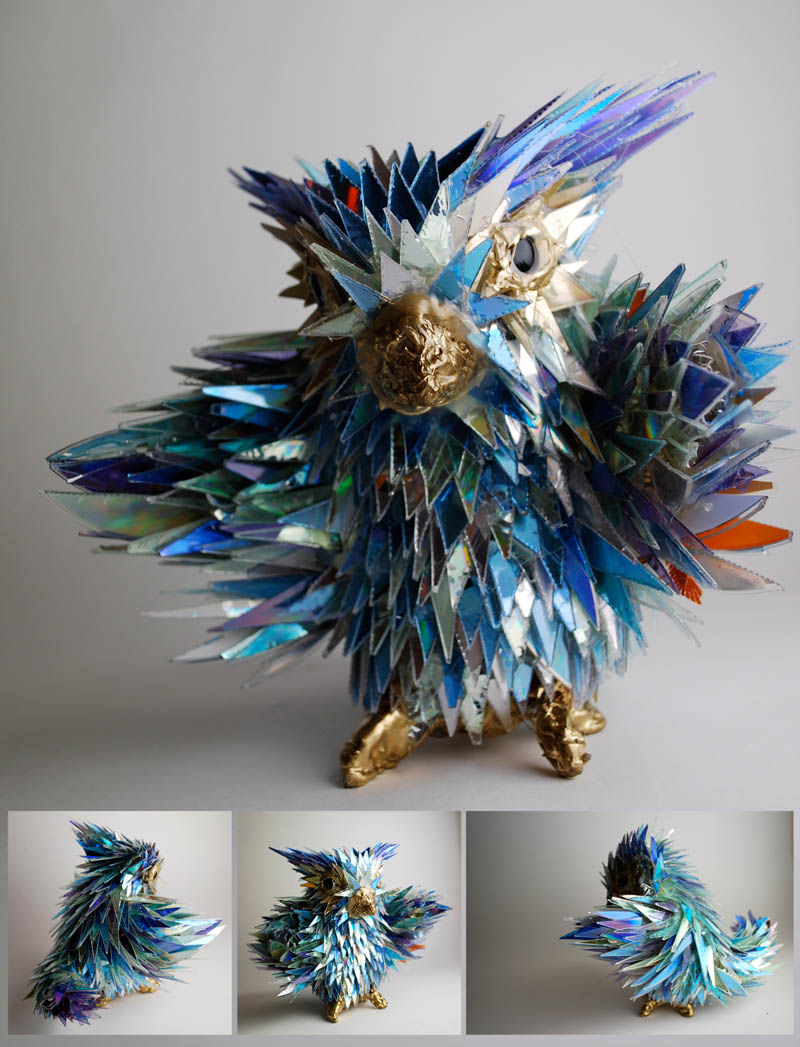 animal sculptures made from shattered cds sean avery 4 10 Amazing Animals Sculptures Made from Shattered CDs